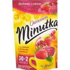 Чай фруктовий Minutka з малиною, полуницею та гранатом, 64г (30+2пак.) ZIP