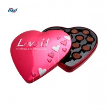 Цукерки рожеве серце Milk chocolate pralines with cocoa heart tin 100 г