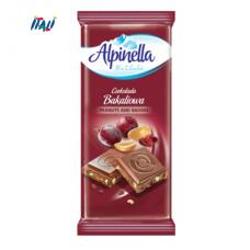 Alpinella шоколад з арахісом та родзинками, 90г