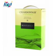 Вино белое Bostavan Chardonnay в коробке 13% 3л